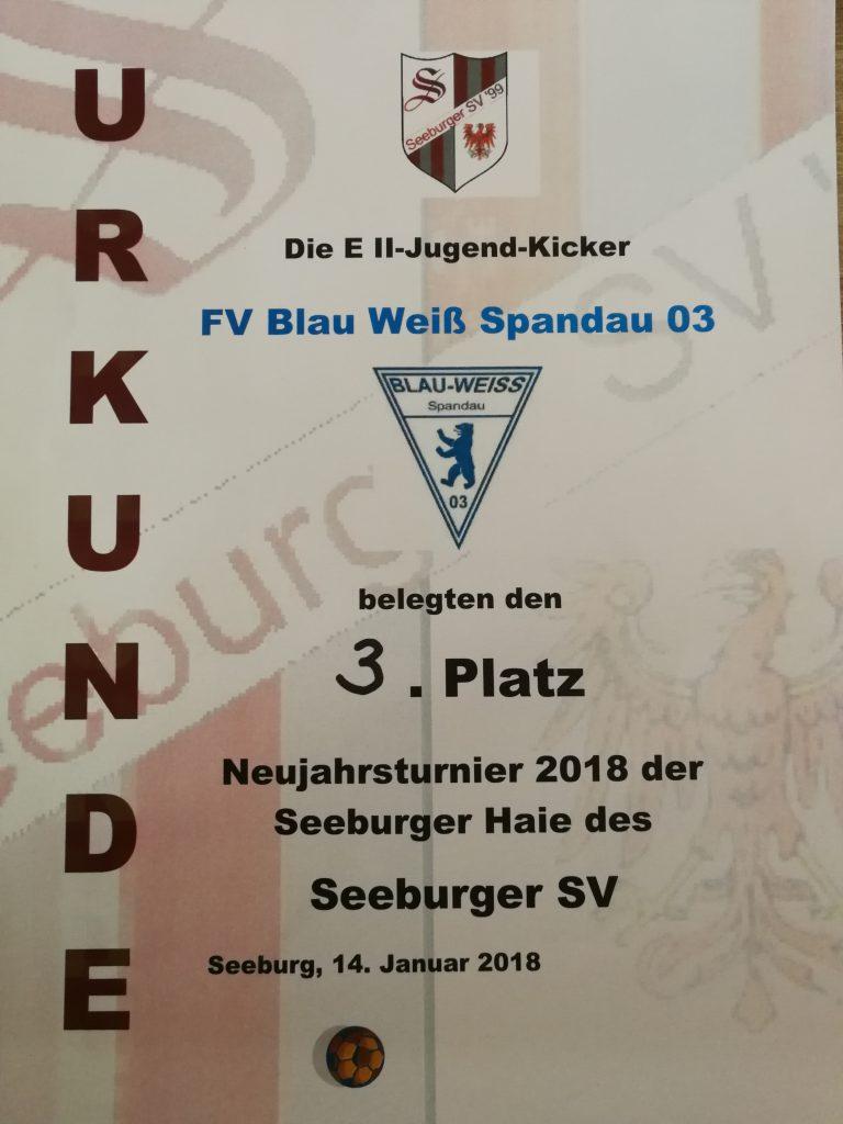 Urkunde dritter Platz beim Neujahrsturnier Seeburger SV
